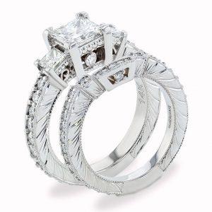 Hand Engraved 3 Stone wedding Set